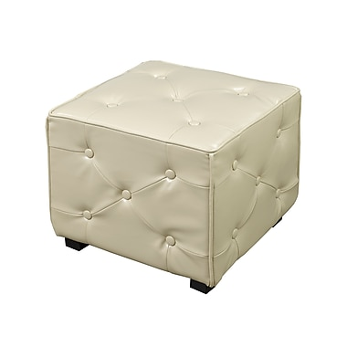 Brassex 5187-CR Tufted Cube Ottoman, Cream