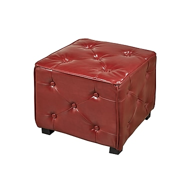 Brassex 5187-RD Tufted Cube Ottoman, Red