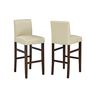 Brassex – Tabouret de bar 5411-CR, 29 po, lot de 2, crème
