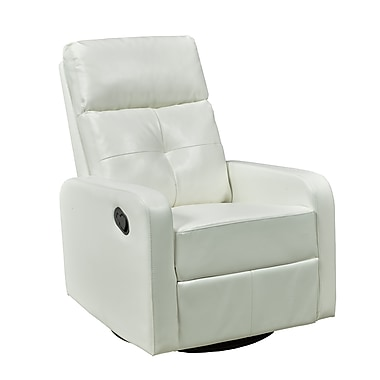 Brassex 657-WH Rocker/Recliner with Swivel, White