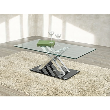 Brassex G-343 Cocktail Table, Silver/Black
