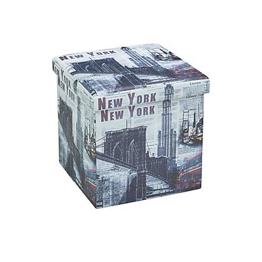 Brassex – Pouf de rangement FD-1001NY, imprimé de New York