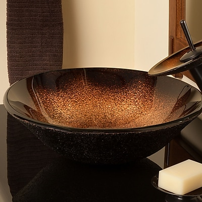 Novatto Sanguinello Glass Circular Vessel Bathroom Sink