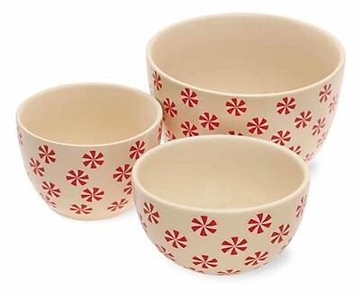 Boston International Holiday Peppermints Stoneware Serving Bowl Set