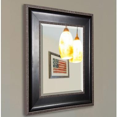 Rayne Mirrors Black w/ Silver Cage Trim Wall Mirror; 35.25'' H x 29.25'' W x 2'' D