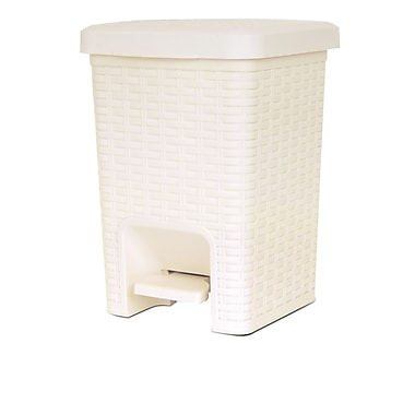 Superior Performance Plastic 1.88 Gallon Step On Trash Can; Beige