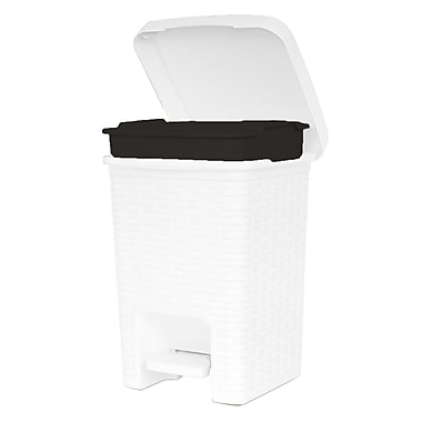 Superior Performance Plastic 1.88 Gallon Step On Trash Can; White