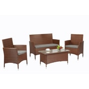 Baner Garden 4 Piece Lounge Seating Group w/ Cushions; Brown