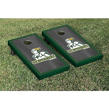 Victory Tailgate NCAA Oynx Stained Border Version Cornhole Game Set; St. Norbert Green Knights