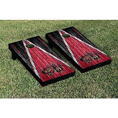 Victory Tailgate NCAA Weathered Triangle Version Cornhole Game Set; Temple University Owls