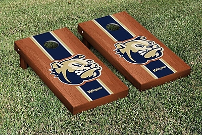 Victory Tailgate NCAA Rosewood Stained Stripe Version Cornhole Game Set; Wingate Bulldogs