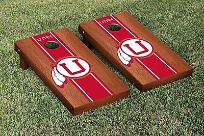 Victory Tailgate NCAA Rosewood Stained Stripe Version Cornhole Game Set; College Vault Utah Utes