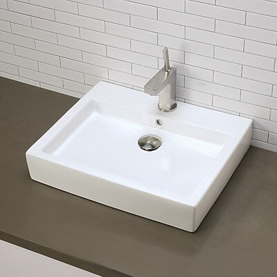DecoLav Classically Redefined Tallia Ceramic Rectangular Vessel Bathroom Sink w/ Overflow