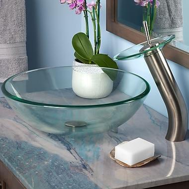 Novatto Bonificare Glass Circular Vessel Bathroom Sink; Brushed Nickel
