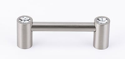 Alno Swarovski Crystal 3'' Center Bar Pull; Satin Nickel WYF078276314737