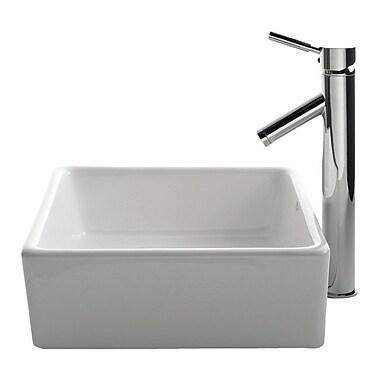 Kraus Ceramic Ceramic Square Vessel Bathroom Sink w/ Faucet; Chrome