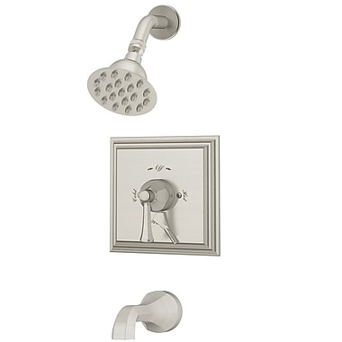 Symmons Canterbury Tub and Shower Trim w/ Lever Handle; Satin Nickel