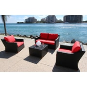 Bellini Marcelo 5 Piece Deep Seating Group w/ Cushion; Dura-Fast Red
