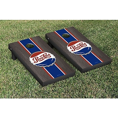Victory Tailgate Pepsi Throwback Stained Stripe Version Cornhole Game Set; Onyx