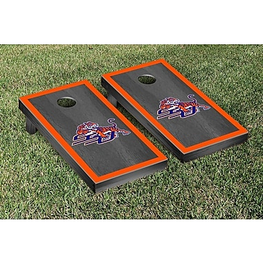 Victory Tailgate NCAA Onyx Stained Border Version Cornhole Bag Toss Game Set; Savannah State Tigers