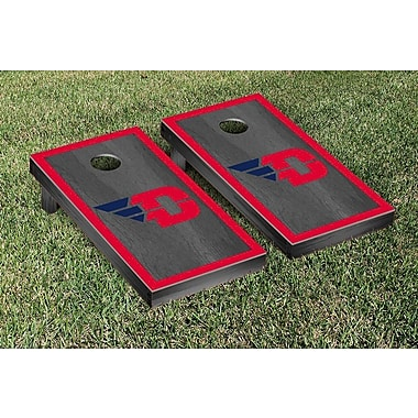 Victory Tailgate NCAA Onyx Stained Border Version Cornhole Bag Toss Game Set; Dayton Flyers