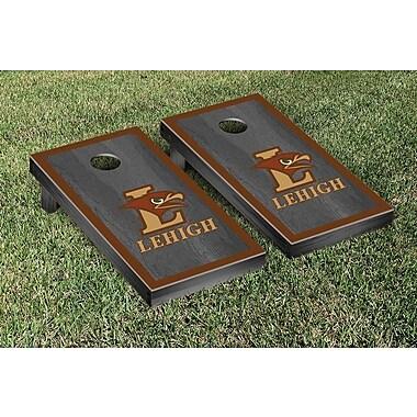 Victory Tailgate NCAA Onyx Stained Border Version Cornhole Bag Toss Game Set; Lehigh Mountain Hawks