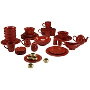 Ten Strawberry Street Nova Round Beaded 45 Piece Dinnerware Set; Red