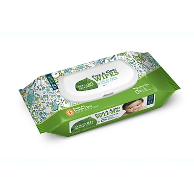 Seventh Generation Free and Clear Baby Wipes, Unscented, 64 Wipes/Pack