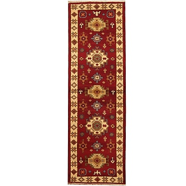 Herat Oriental Kazak Hand-Knotted Red/Ivory Area Rug