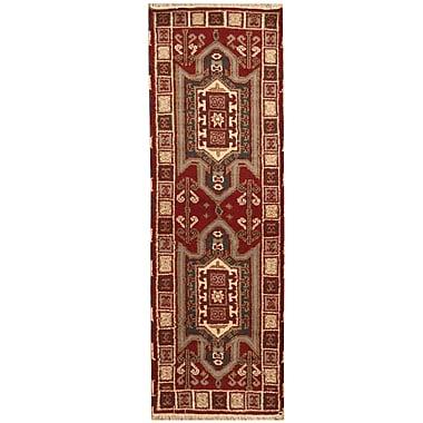 Herat Oriental Kazak Hand-Knotted Burgundy/Ivory Area Rug