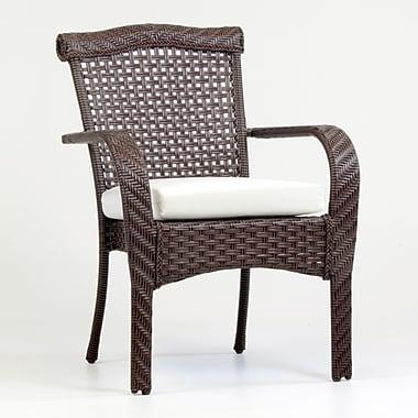 South Sea Rattan Martinique Patio Dining Chair w/ Cushion; Cayenne