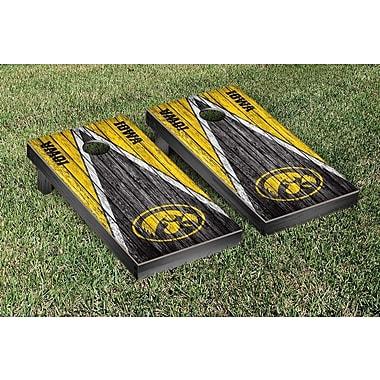 Victory Tailgate NCAA Triangle Weathered Version Cornhole Boards Game Set; Iowa Hawkeyes