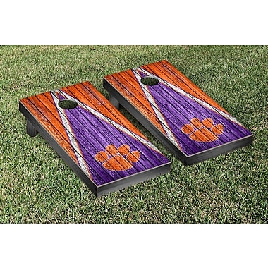 Victory Tailgate NCAA Triangle Weathered Version Cornhole Boards Game Set; Clemson Tigers