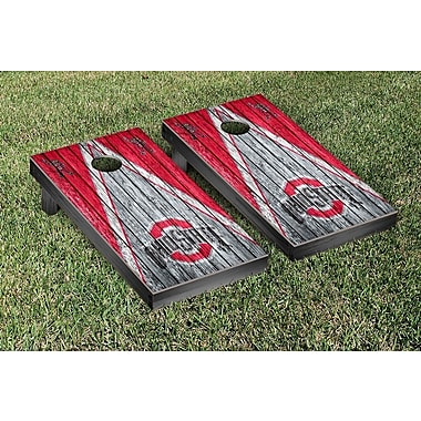 Victory Tailgate NCAA Triangle Weathered Version Cornhole Boards Game Set; Ohio State Buckeyes OSU