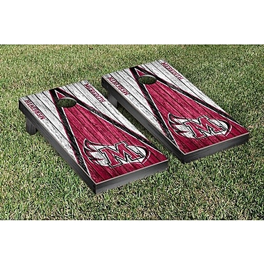 Victory Tailgate NCAA Triangle Weathered Version Cornhole Boards Game Set; Meredith Avenging Angels