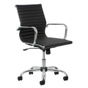 Essentials by OFM ESS-6090 Black Leather Chair, Swivel and Tilt Control, Fixed Loop Chrome Arms, Chrome Frame