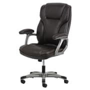 Essentials by OFM High-Back Leather Executive Chair with Flip-Up Arms, Brown, (ESS-6030-BRN)