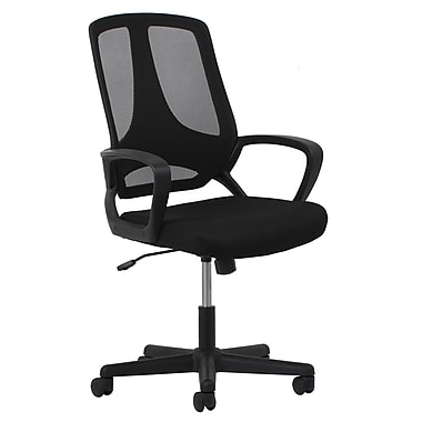 OFM Essentials Fabric Computer and Desk Office Chair, Fixed Arms, Black (89191013624)