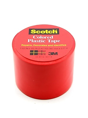 Scotch Colored Plastic Tape Red 1 1/2 In. [Pack Of 12] (12PK-191RED)