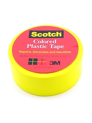 Scotch Colored Plastic Tape Yellow 3/4 In. [Pack Of 18] (18PK-190YEL)