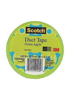 Scotch Colored Duct Tape Green Apple 1.88 In. X 20 Yd. Roll [Pack Of 6] (6PK-920-GRN-C)