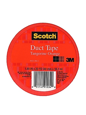 Scotch Colored Duct Tape Tangerine Orange 1.88 In. X 20 Yd. Roll, 6/Pack, (6PK-920-ORG-C)