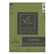 Canson XL Recycled Sketch Pads, 9 In. x 12 In., Pad Of 100 Sheets, Fold-Over, Pack Of 3 (3PK-100510921)