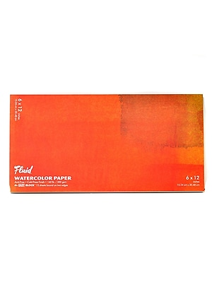 Global Art Fluid Cold Press Watercolor Paper 6 In. X 12 In. Block [Pack Of 2] (2PK-880612)