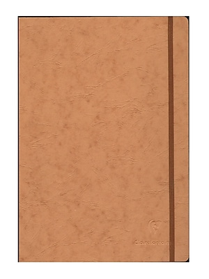 Clairefontaine Cloth-Bound Notebooks 8 1/4 In. X 11 3/4 In. Ruled, Tan Cover, Elastic Closure 96 Sheets [Pack Of 2] (2PK-79146)