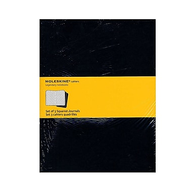 Moleskine Cahier Journals Black, Graph 7 1/2 In. X 9 3/4 In. Pack Of 3, 120 Pages Each [Pack Of 3] (3PK-9788883705021)