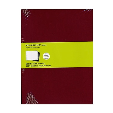 Moleskine Cahier Journals Red, Blank 7 1/2 In. X 9 3/4 In. Pack Of 3, 120 Pages Each [Pack Of 3] (3PK-9788862931090)