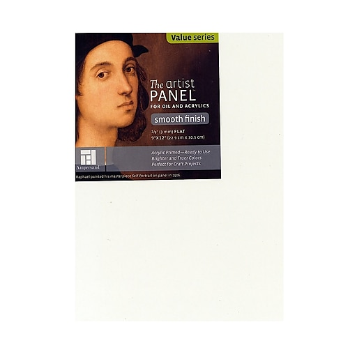 Ampersand The Artist Panel Primed Smooth Flat Profile 9 In. X 12 In. 1/8 In. [Pack Of 5] (5PK-APS0912)