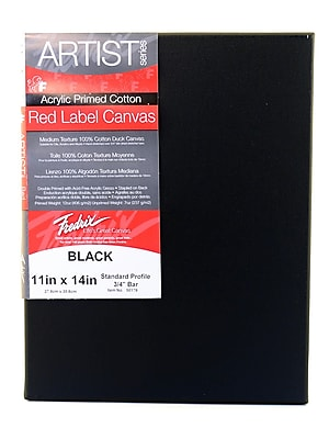 Fredrix Red Label Black Stretched Cotton Canvas 11 In. X 14 In. Each [Pack Of 4] (4PK-50179)