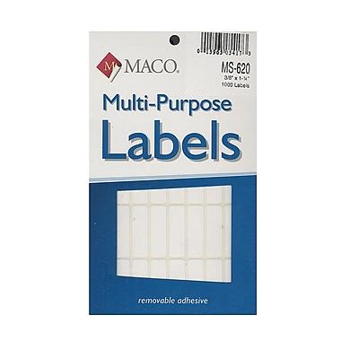 Maco Multi-Purpose Handwrite Labels Rectangular 3/8 In. X 1 1/4 In. Pack Of 1000 [Pack Of 6] (6PK-MS-620)
